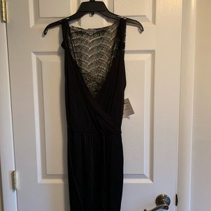 Black&Gold lace trim w/ mid-waist tie party dress